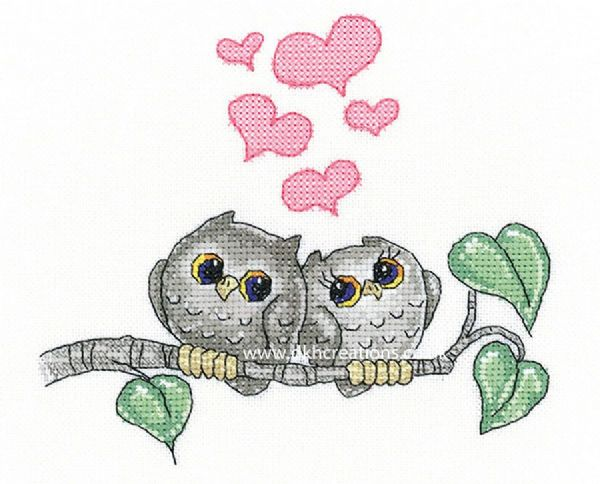 Hearts And Feathers Cross Stitch Kit